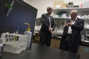 National Institutes of Health Director Francis Collins, M.D., Ph.D. (left) talks with Joe W. Gray, Ph.D. at the Spatial Systems Biomedicine October 24, 2016. Dr. Collins met with OHSU leaders, learned about OHSU research and toured facilities prior to delivering the Mark O. Hatfield Lecture in the evening. (OHSU/Kristyna Wentz-Graff)