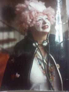 "Suse Skinner performing as ""Suzani"" a heart-themed clown nurse."