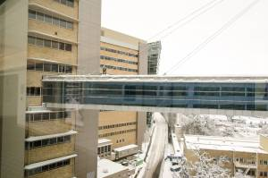 Dylan Thomas with A1 Integrity clearing the skybridge between OHSU and VA hospital