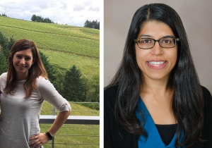 Two side by side photos - one with a person standing outdoors with a vineyard in the background and the other is a professional headshot. Both people are smiling.