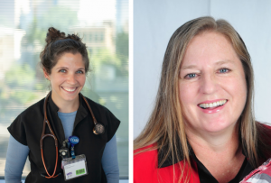 Two side by side photos of smiling healthcare workers