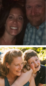 Two photos: One with two smiling people, one with a laughing person with a small laughing child leaning on her shoulder