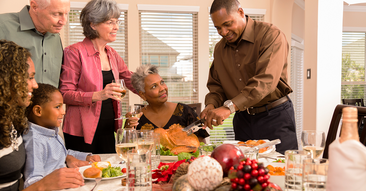 family enjoys a holiday meal