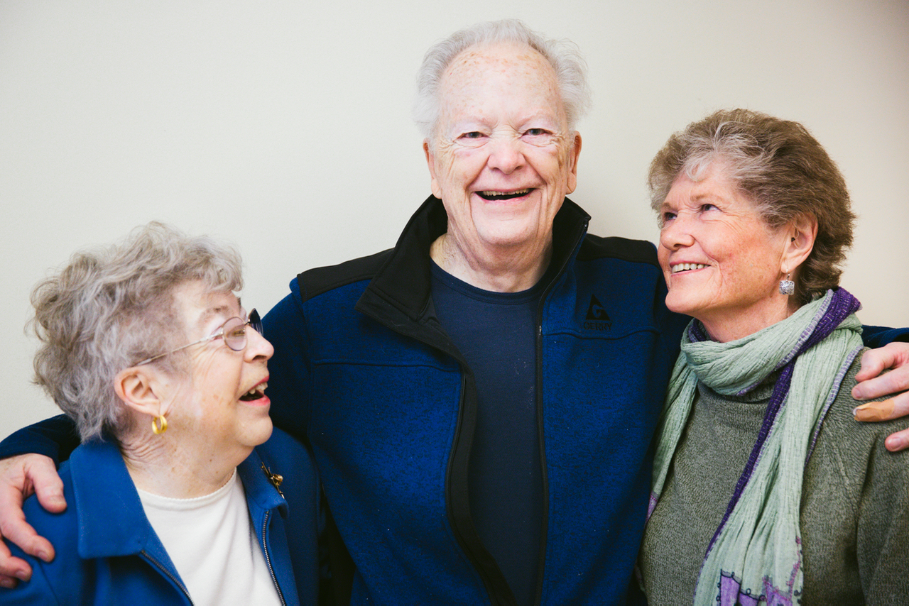 (Left to right) Judy Orem, 73, of Lake Oswego, Oregon, Doug Jenson, 83, of Canby, Oregon, and Dori Mortensen, 79, of Bend, Oregon, inside Multnomah Pavilion at Oregon Health & Science University in Portland, Oregon on Thursday April 20, 2017.