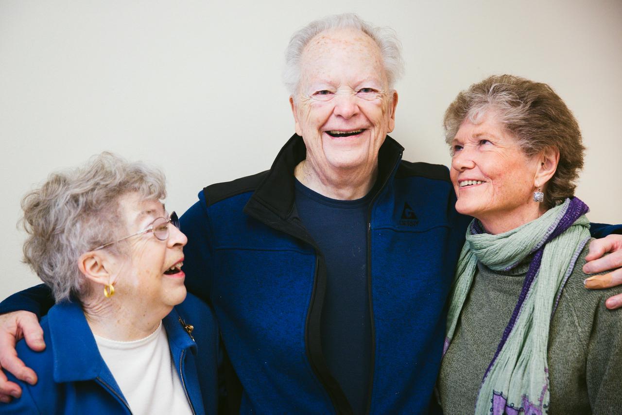 (Left to right) Judy Orem, 73, of Lake Oswego, Oregon, Doug Jenson, 83, of Canby, Oregon, and Dori Mortensen, 79, of Bend, Oregon, inside Multnomah Pavilion at Oregon Health & Science University in Portland, Oregon on Thursday April 20, 2017.