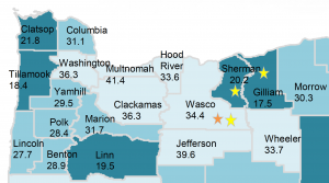 A map showing how HPV vaccination coverage in Oregon varies by county.