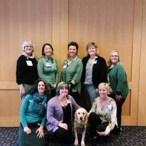 Our amazing Child Life team! Back row, pictured from left: Peggy Adams, Hannah Ono, Jan Crider, Allison Laurenza, Beth Christian. Front Row: Kim Kuehnert, Sandra Westfall, Hospital Facility Dog Hope, Susan Sherwood. Not pictured: Rebekah  Coles and Jess Calvert