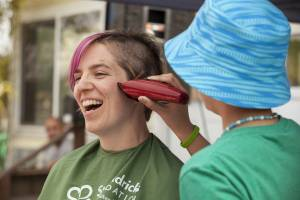 A patient shaved Lily's head at a St. Balrick's Foundation event earlier this year.  Photo by Marie Sullivan