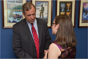 Talon talking with Sen. Jeff Merkley