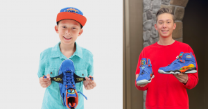 First photo: Smiling boy holds up a pair of colorful Nike Air Jordans. Second photo: A young man holding up sneakers.