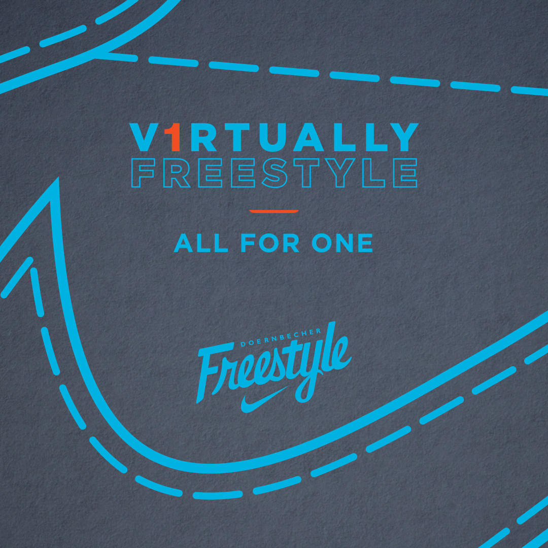"Gray background with blue and red text reading ""V1RTUALLY FREESTYLE. All for one."" with the Doernbecher Freestyle logo and graphics imitating shoe stitching."