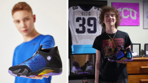 "Left: Young man holding blue, purple, gold and black Air Jordan 14 Retro sneaker. Right: Same person, older, holding the sneaker and standing in a bedroom. Football jersey behind him reads ""Ellis #39."""