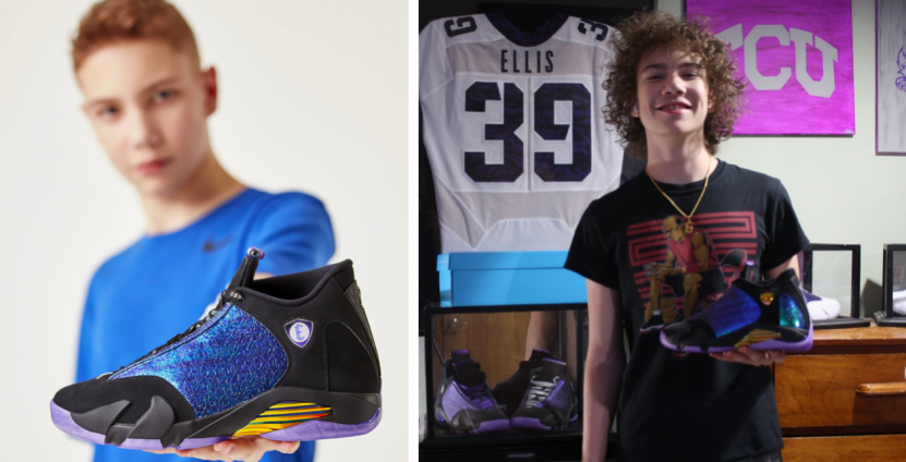 """Left: Young man holding blue, purple, gold and black Air Jordan 14 Retro sneaker. Right: Same person, older, holding the sneaker and standing in a bedroom. Football jersey behind him reads """"Ellis #39."""""""