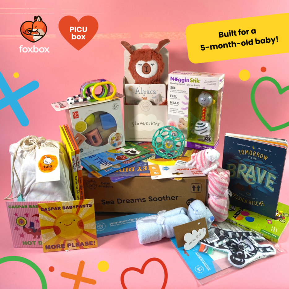 """A collection of toys, books, stuffed animals and more. Foxbox logo, PICU box, """"Built for a 5-month-old baby!"""""""