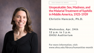 digital signage for 4/24 lecture by Dr. Christin Hancock