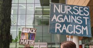 "Signs from OHSU student-led Black Lives Matter Protest on June 13, 2020. Signs read ""Black Lives Matter"" and ""Nurses Against Racism."""