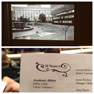 "A horizontally split image depicts a black and white slideshow of Marquam Hill campus photo on top, and on bottom, a hand holds up a page that lists ""35 years: Academic Affairs: Jeffy Colby: Library Technician 2"""