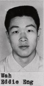 Black and white photographic portrait of Edward Eng (Eddie) Wah, D.M.D., School of Dentistry, class of 1957