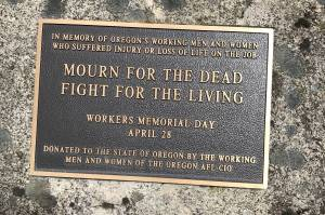 Workers memorial plaque in Salem, Oregon