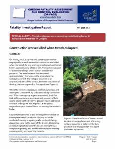 Oregon FACE trench collapse fatality report screenshot