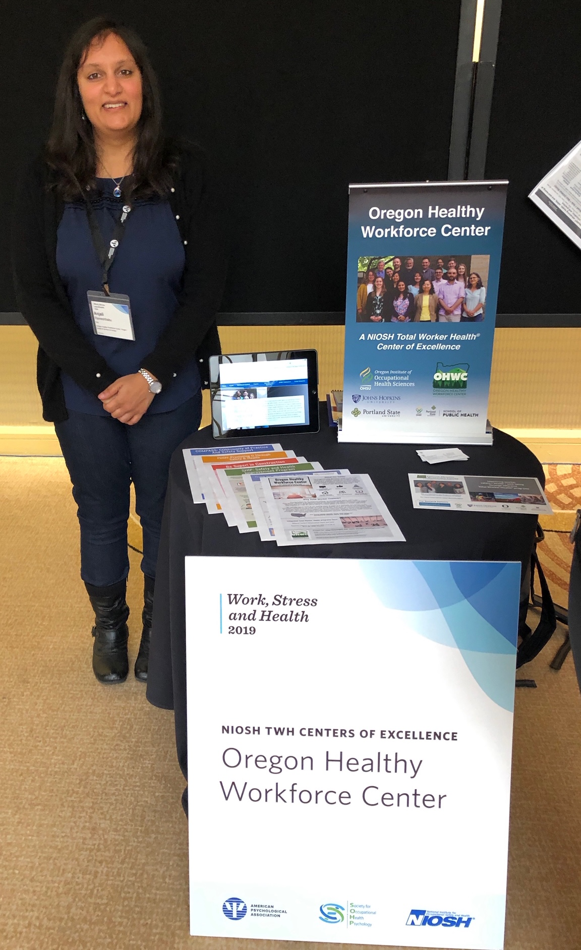 Dr. Anjali Rameshbabu PhD representing Oregon Healthy Workforce Center at Work, Stress and Health 2019