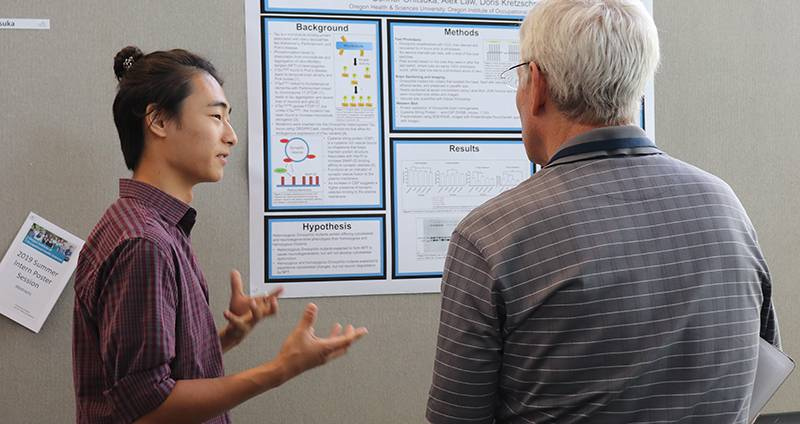 Summer Intern giving presentation at poster session