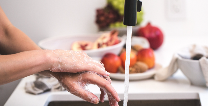 Stock photo of hand washing