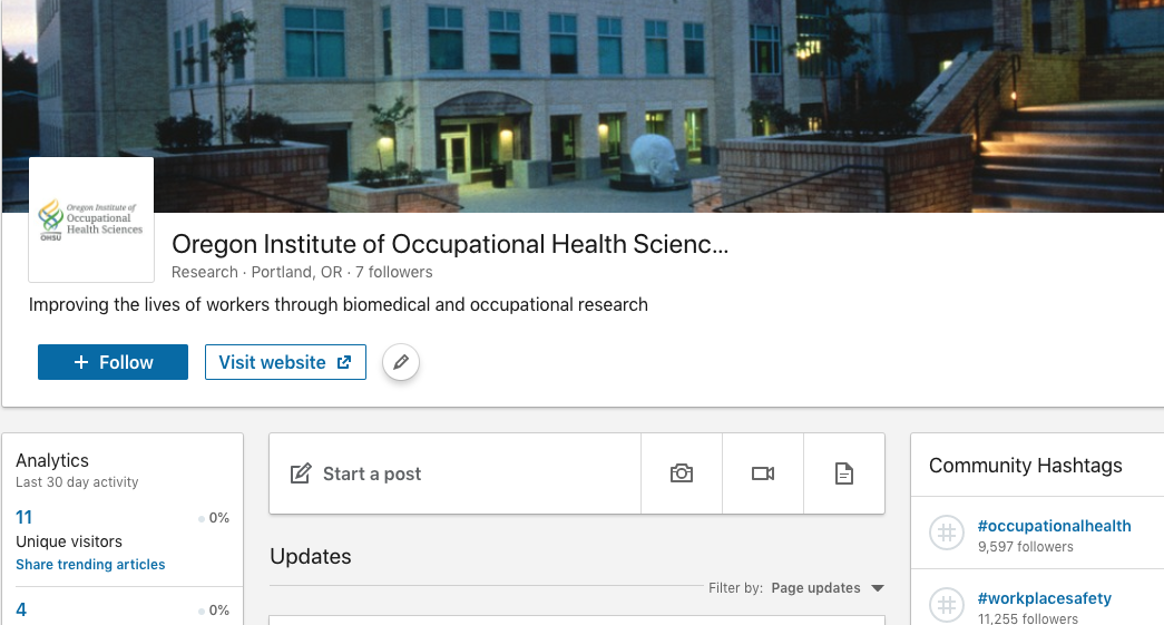 Oregon Institute of Occupational Health Sciences LinkedIn Page