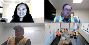 Dr. Emily Huang Safety Climate Lab meeting online with construction partners on safety climate and culture