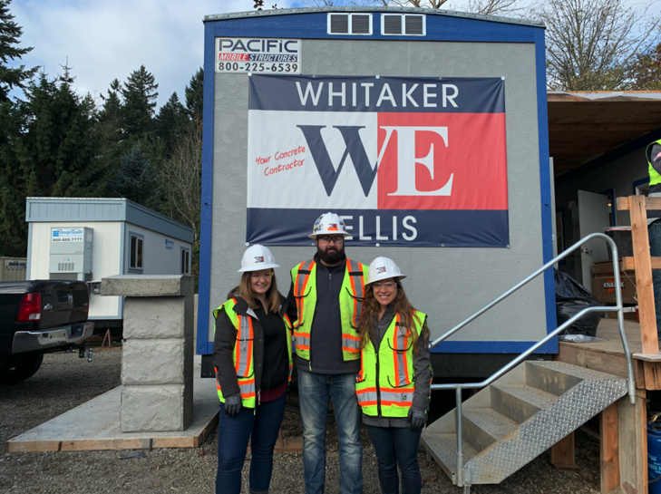 The Safety Climate Lab team with the Safety Director at Whitaker/Ellis Builders, Inc. at a construction site pre-COVID