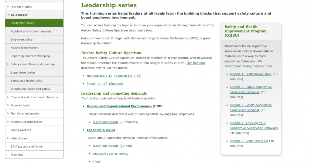 SAIF Leadership Series Training webpage
