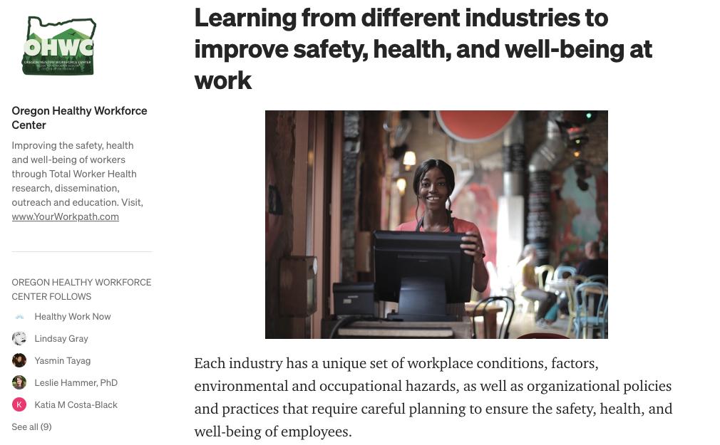 New OHWC Medium.com article Total Worker Health