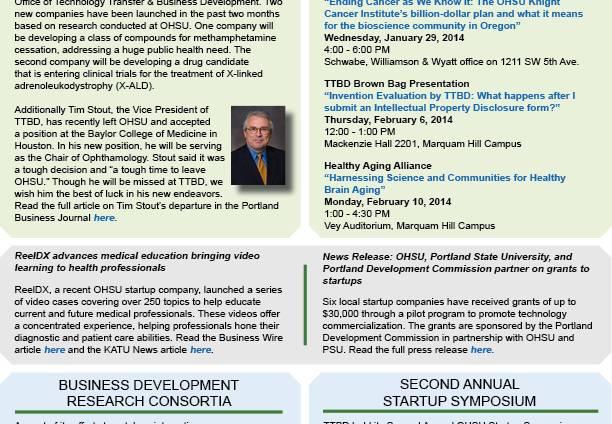 ohsu technology transfer and business development newsletter ohsu
