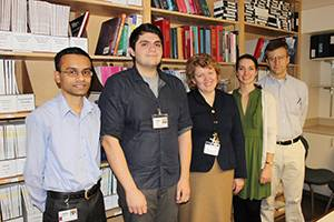 Members of the lab, from left to right: Muammar Kabir, Ph.D., postdoctoral fellow; Elyar Ghafoori, M.S., research assistant; Larisa Tereshchenko, M.D., Ph.D.; Lauren Hawkins, B.S., research assistant; Charles Henrikson, M.D., M.P.H., director of  Clinical Electrophysiology program, KCVI