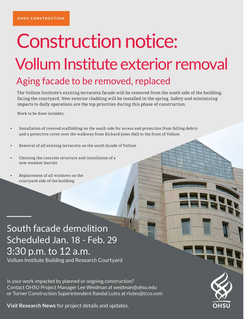 Vollum south facade demolition scheduled flier 012916