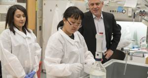 Dr. Louis Picker with research assistants Colleen Xu and Mukta Vaidya at the Vaccine and Gene Therapy Institute