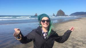 Sami Friedrich, a crab, and the Oregon Coast