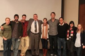 OHSU President Joe Robertosn, MD, and students